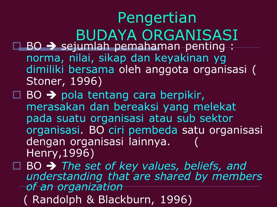 Pengertian BUDAYA ORGANISASI  BO  sejumlah pemahaman penting : norma, nilai, sikap dan keyakinan yg dimiliki bersama oleh anggota organisasi ( Stone