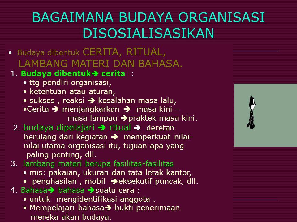 BAGAIMANA BUDAYA ORGANISASI DISOSIALISASIKAN Budaya dibentuk CERITA, RITUAL, LAMBANG MATERI DAN BAHASA. 1. Budaya dibentuk  cerita : ttg pendiri orga