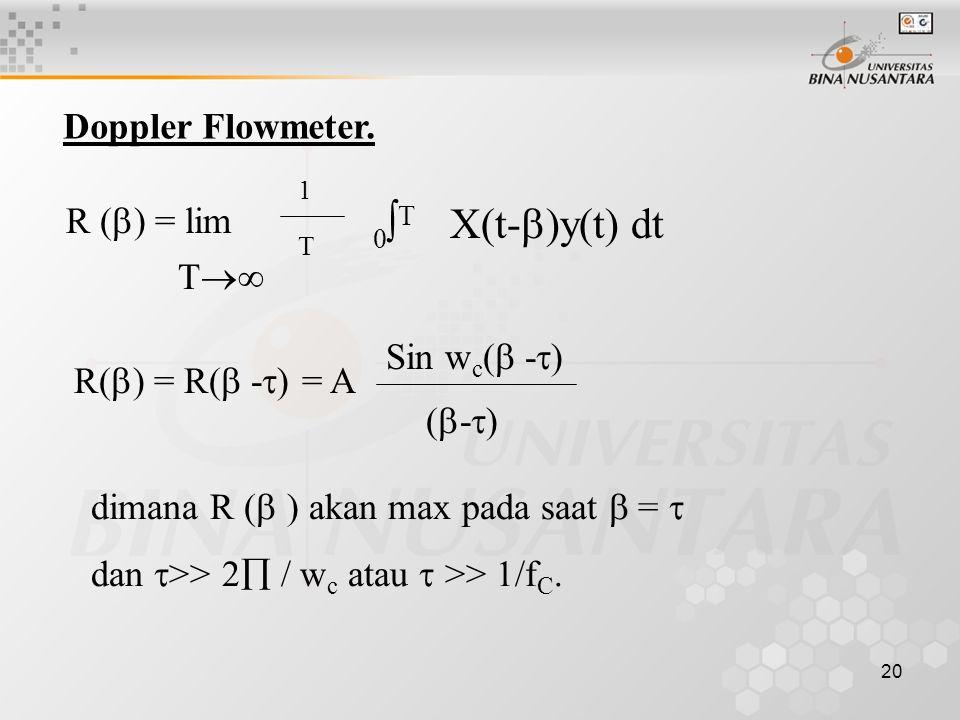 20 R (  ) = lim Doppler Flowmeter.