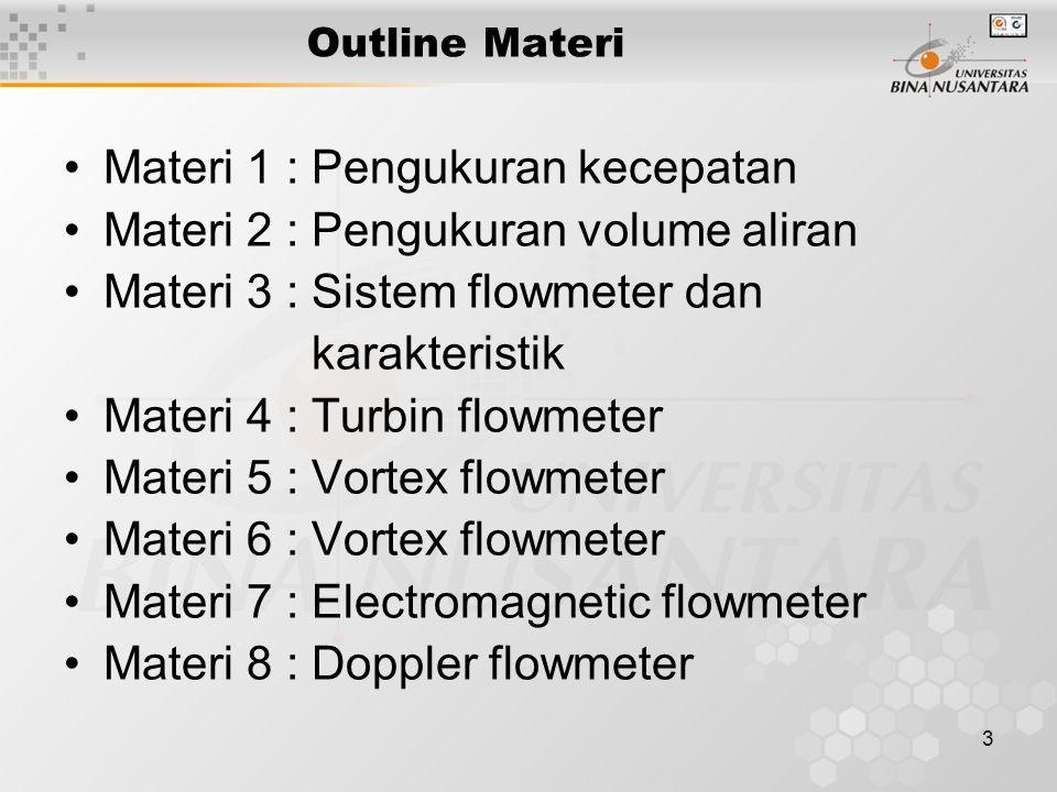 3 Outline Materi Materi 1 : Pengukuran kecepatan Materi 2 : Pengukuran volume aliran Materi 3 : Sistem flowmeter dan karakteristik Materi 4 : Turbin flowmeter Materi 5 : Vortex flowmeter Materi 6 : Vortex flowmeter Materi 7 : Electromagnetic flowmeter Materi 8 : Doppler flowmeter