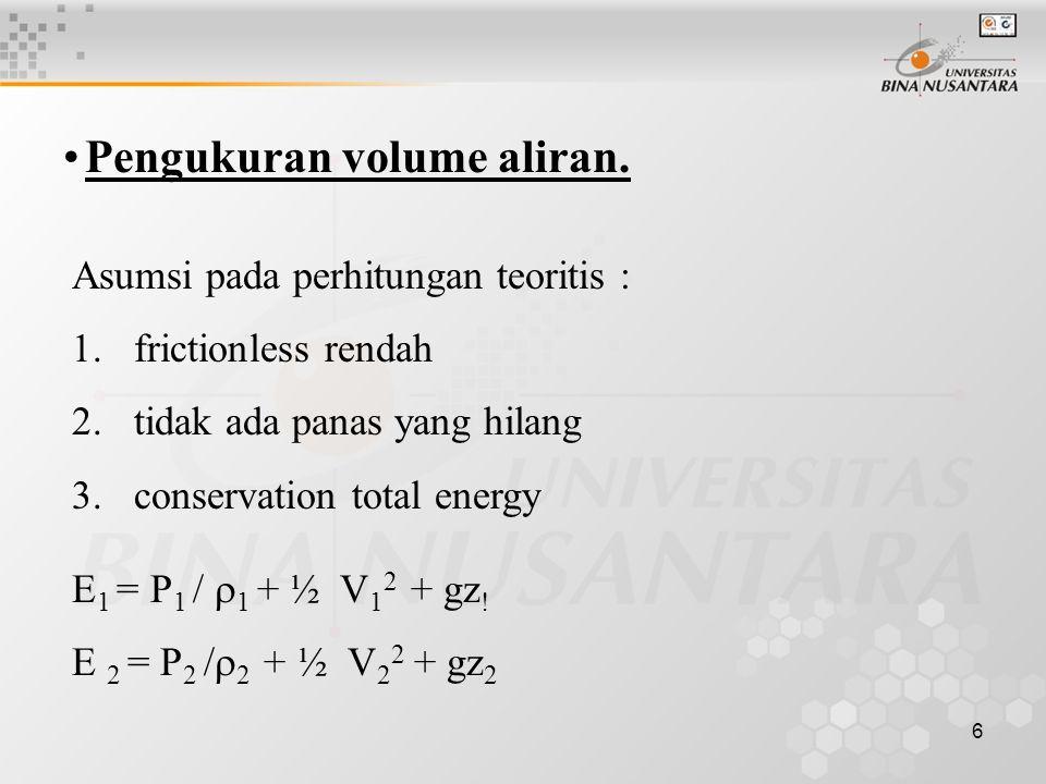 6 Pengukuran volume aliran.Asumsi pada perhitungan teoritis : 1.