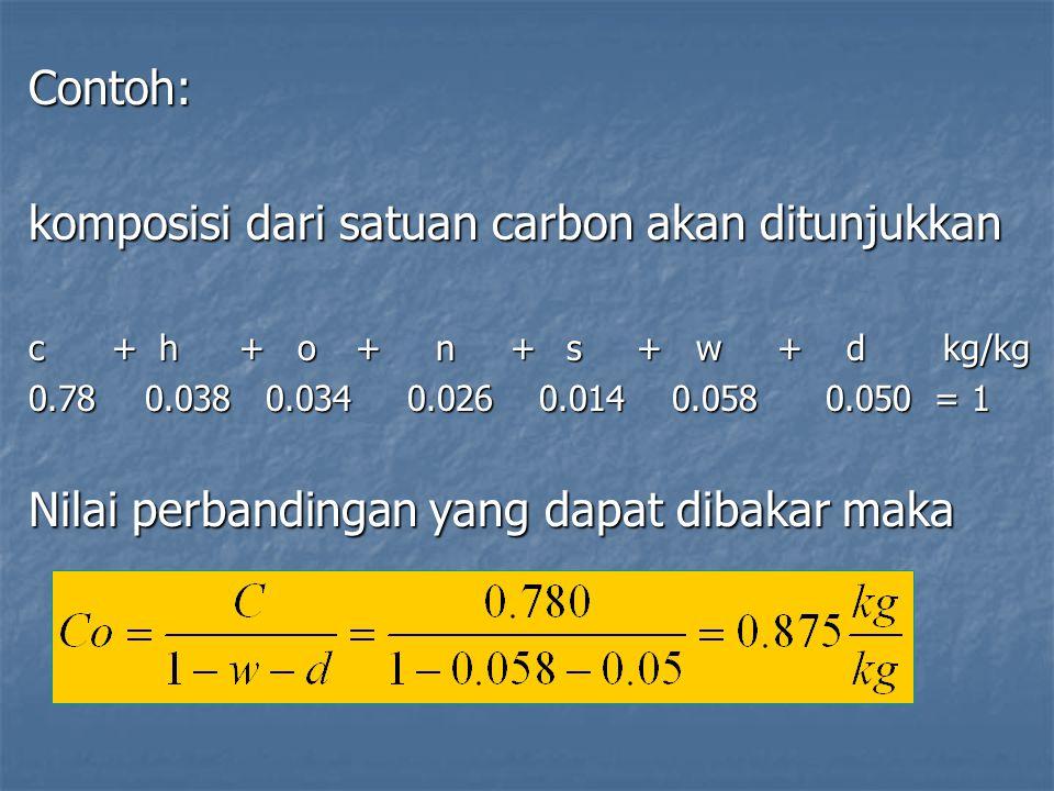 Contoh: komposisi dari satuan carbon akan ditunjukkan c + h+ o + n + s + w + d kg/kg 0.78 0.038 0.034 0.026 0.014 0.058 0.050 = 1 Nilai perbandingan y