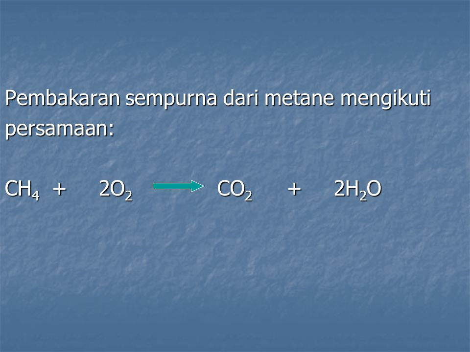 Pembakaran sempurna dari metane mengikuti persamaan: CH 4 +2O 2 CO 2 +2H 2 O