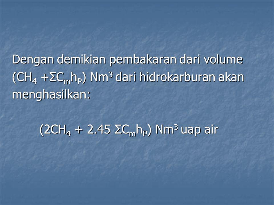 Dengan demikian pembakaran dari volume (CH 4 +ΣC m h P ) Nm 3 dari hidrokarburan akan menghasilkan: (2CH 4 + 2.45 ΣC m h P ) Nm 3 uap air