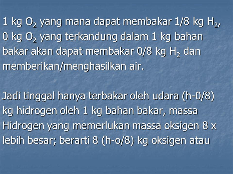 1 kg O 2 yang mana dapat membakar 1/8 kg H 2, 0 kg O 2 yang terkandung dalam 1 kg bahan bakar akan dapat membakar 0/8 kg H 2 dan memberikan/menghasilk