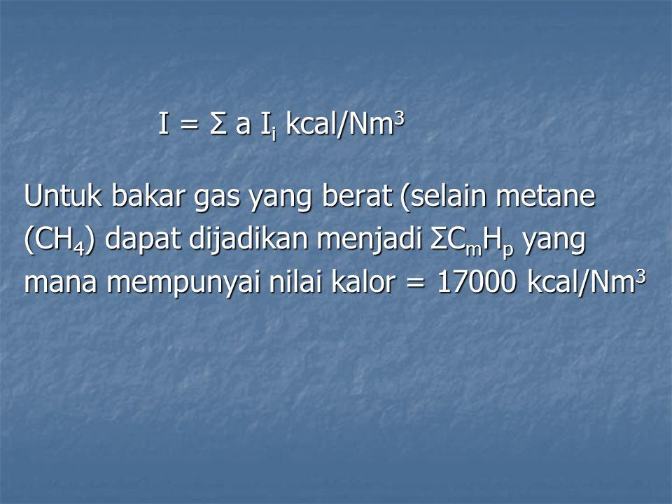 I = Σ a I i kcal/Nm 3 Untuk bakar gas yang berat (selain metane (CH 4 ) dapat dijadikan menjadi ΣC m H p yang mana mempunyai nilai kalor = 17000 kcal/