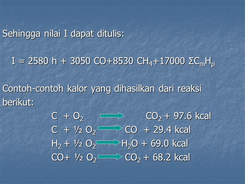 Sehingga nilai I dapat ditulis: I = 2580 h + 3050 CO+8530 CH 4 +17000 ΣC m H p Contoh-contoh kalor yang dihasilkan dari reaksi berikut: C + O 2 CO 2 +