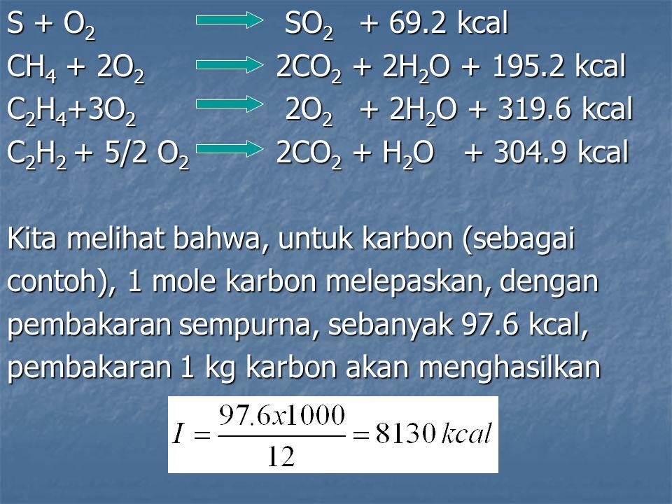 S + O 2 SO 2 + 69.2 kcal CH 4 + 2O 2 2CO 2 + 2H 2 O + 195.2 kcal C 2 H 4 +3O 2 2O 2 + 2H 2 O + 319.6 kcal C 2 H 2 + 5/2 O 2 2CO 2 + H 2 O + 304.9 kcal