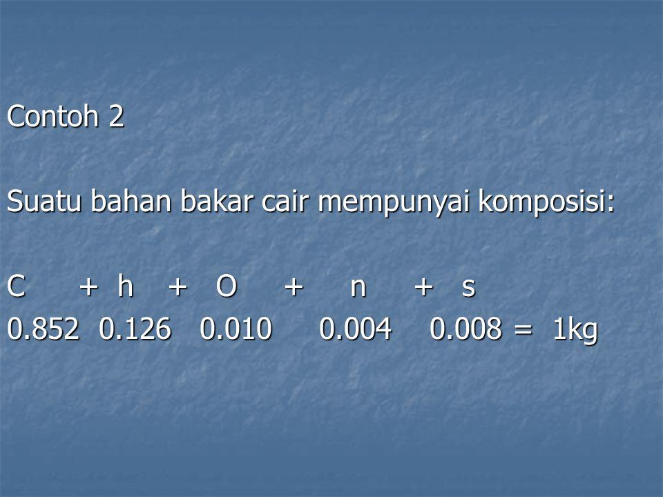 Contoh 2 Suatu bahan bakar cair mempunyai komposisi: C + h + O + n + s 0.852 0.126 0.010 0.004 0.008 = 1kg