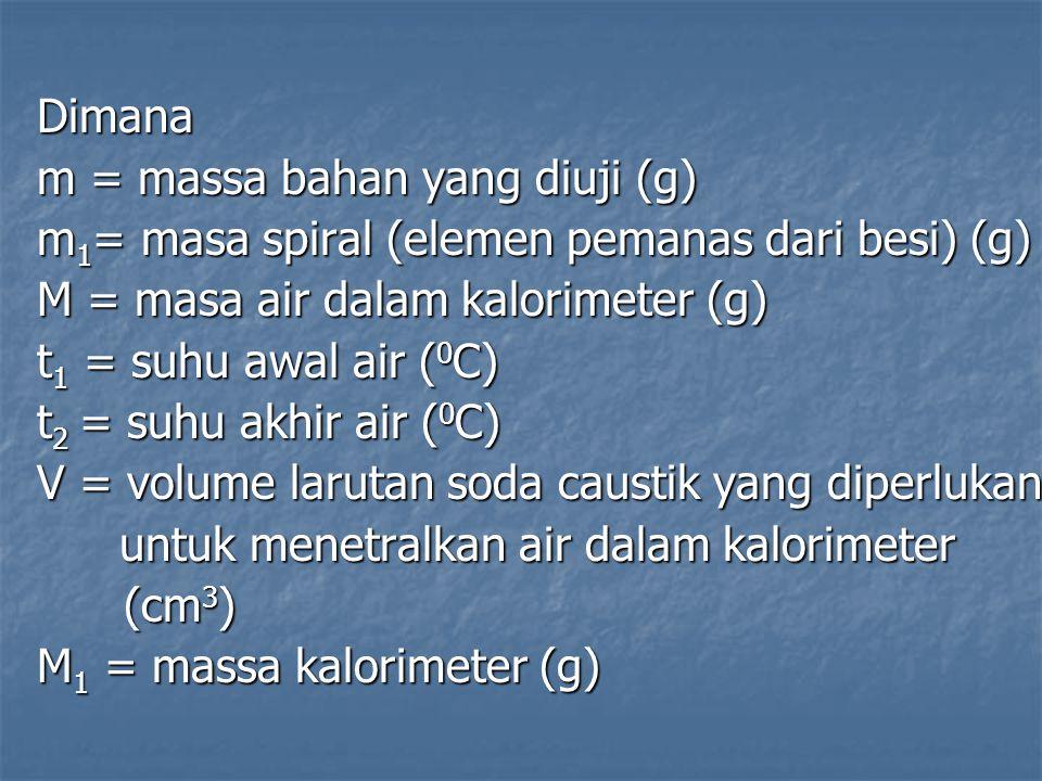 Dimana m = massa bahan yang diuji (g) m 1 = masa spiral (elemen pemanas dari besi) (g) M = masa air dalam kalorimeter (g) t 1 = suhu awal air ( 0 C) t