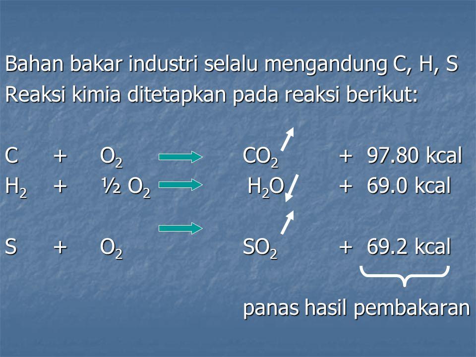 Bahan bakar industri selalu mengandung C, H, S Reaksi kimia ditetapkan pada reaksi berikut: C+O 2 CO 2 + 97.80 kcal H 2 +½ O 2 H 2 O + 69.0 kcal S+ O