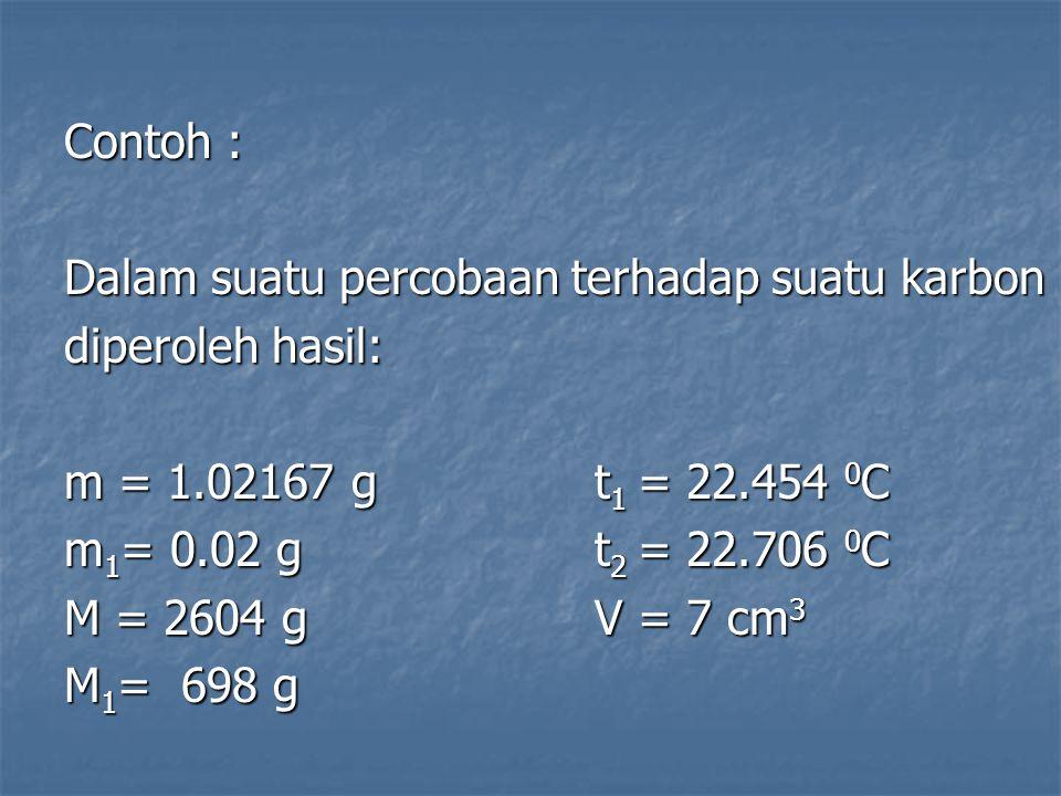 Contoh : Dalam suatu percobaan terhadap suatu karbon diperoleh hasil: m = 1.02167 gt 1 = 22.454 0 C m 1 = 0.02 gt 2 = 22.706 0 C M = 2604 gV = 7 cm 3