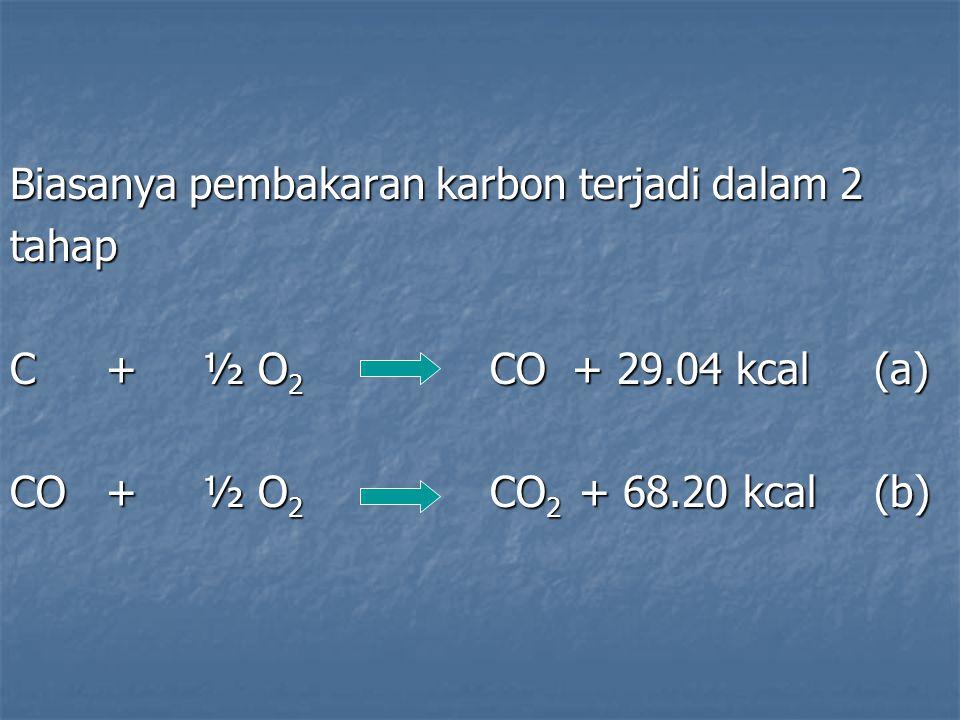 Biasanya pembakaran karbon terjadi dalam 2 tahap C+½ O 2 CO + 29.04 kcal(a) CO+½ O 2 CO 2 + 68.20 kcal(b)