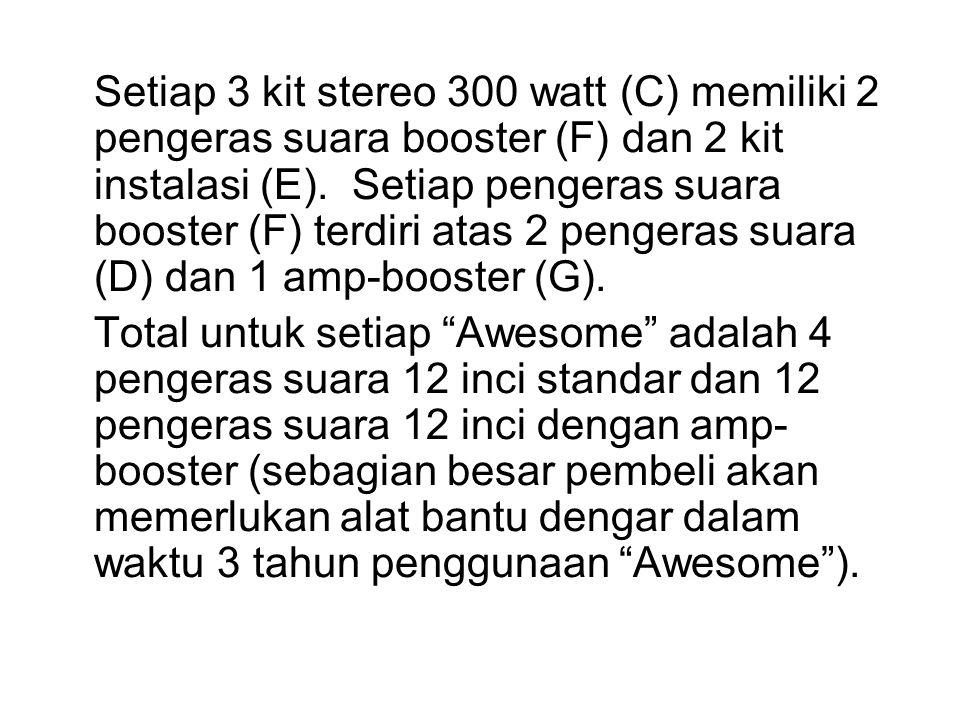 Setiap 3 kit stereo 300 watt (C) memiliki 2 pengeras suara booster (F) dan 2 kit instalasi (E).