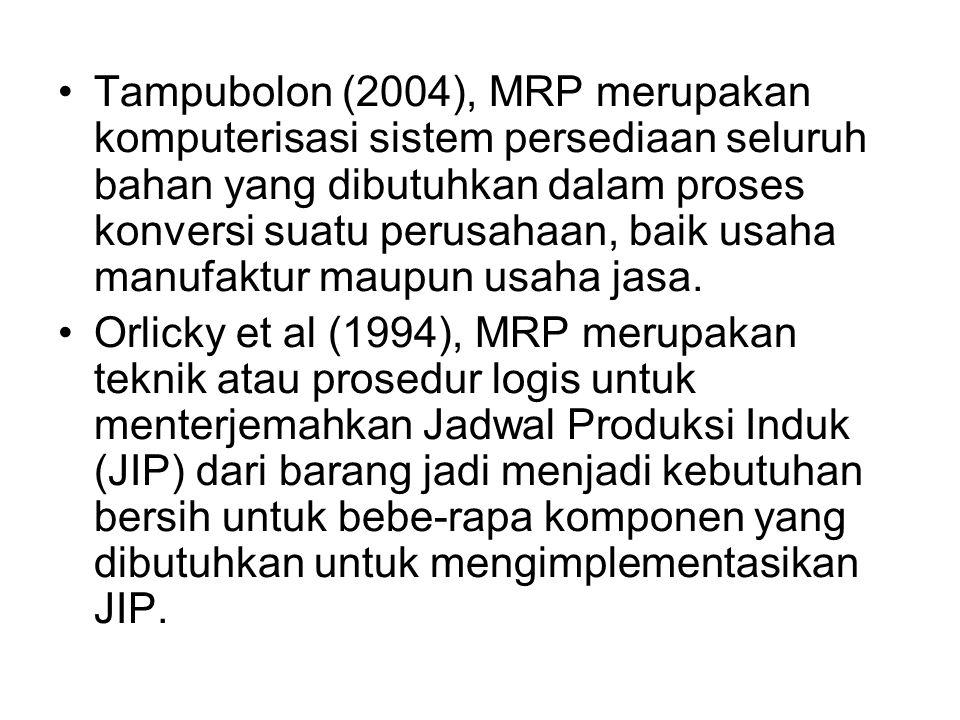 Tampubolon (2004), MRP merupakan komputerisasi sistem persediaan seluruh bahan yang dibutuhkan dalam proses konversi suatu perusahaan, baik usaha manufaktur maupun usaha jasa.