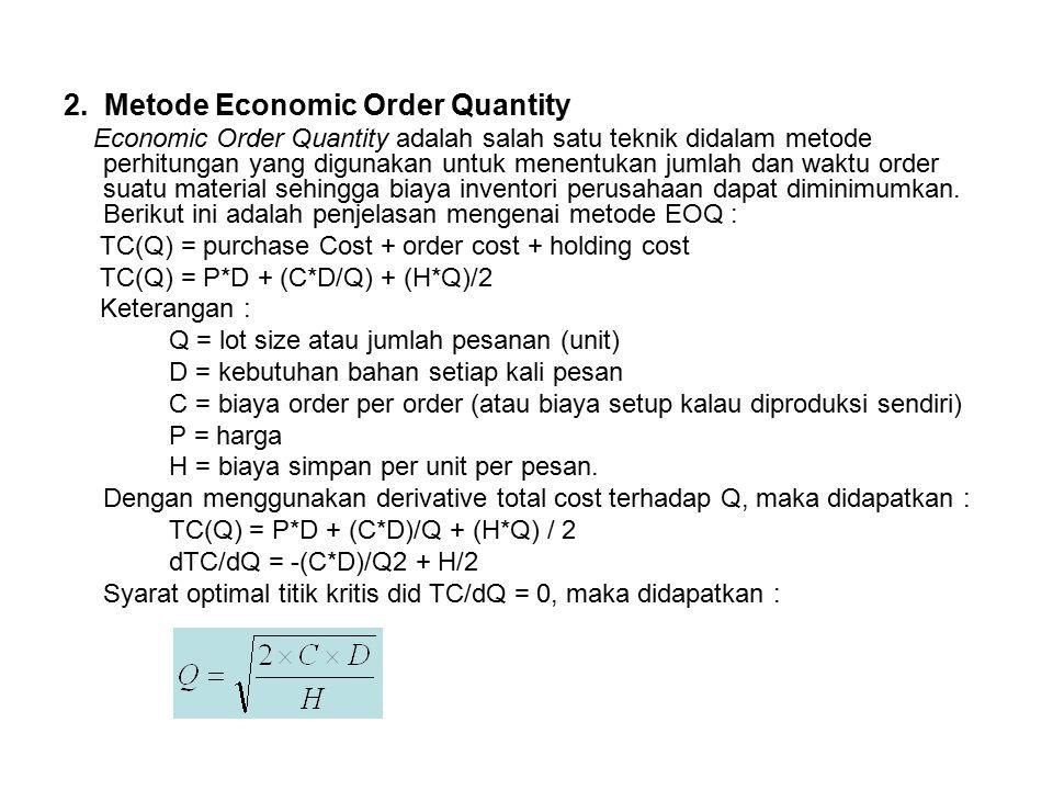 2. Metode Economic Order Quantity Economic Order Quantity adalah salah satu teknik didalam metode perhitungan yang digunakan untuk menentukan jumlah d