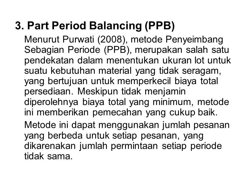3. Part Period Balancing (PPB) Menurut Purwati (2008), metode Penyeimbang Sebagian Periode (PPB), merupakan salah satu pendekatan dalam menentukan uku