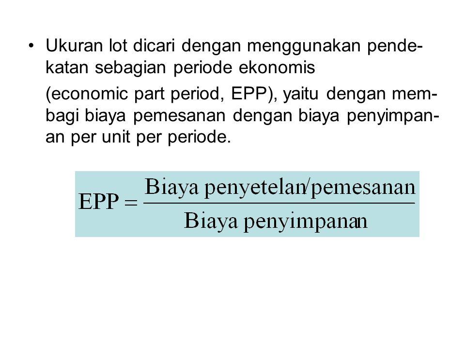 Ukuran lot dicari dengan menggunakan pende- katan sebagian periode ekonomis (economic part period, EPP), yaitu dengan mem- bagi biaya pemesanan dengan biaya penyimpan- an per unit per periode.