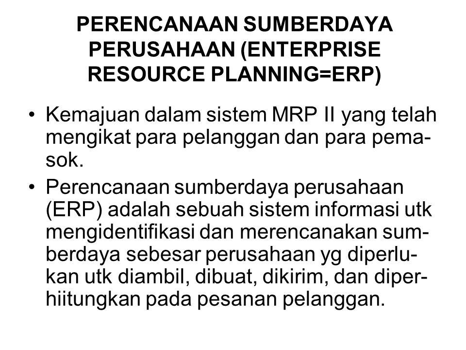 PERENCANAAN SUMBERDAYA PERUSAHAAN (ENTERPRISE RESOURCE PLANNING=ERP) Kemajuan dalam sistem MRP II yang telah mengikat para pelanggan dan para pema- sok.