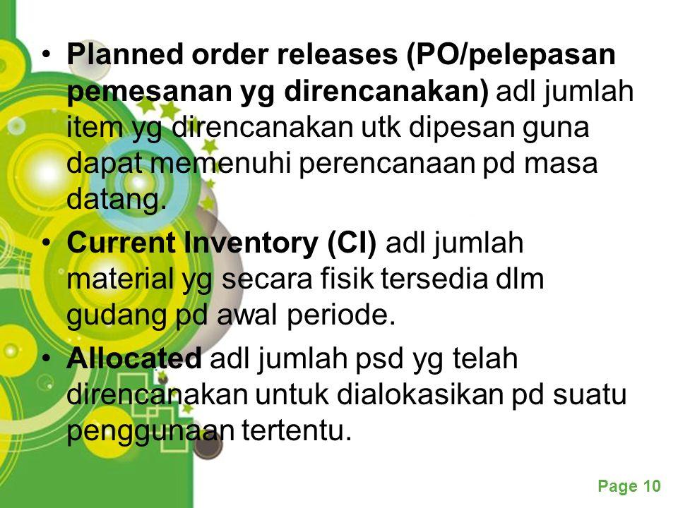 Page 10 Planned order releases (PO/pelepasan pemesanan yg direncanakan) adl jumlah item yg direncanakan utk dipesan guna dapat memenuhi perencanaan pd masa datang.
