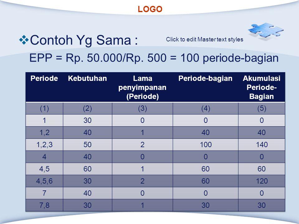 LOGO Click to edit Master text styles  Contoh Yg Sama : EPP = Rp.