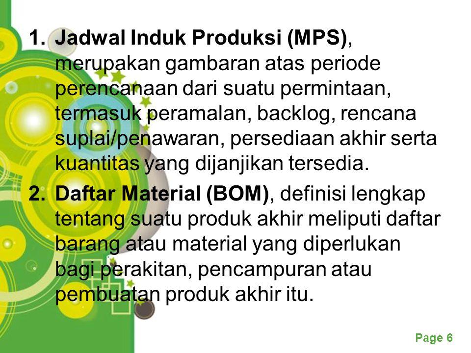 Page 6 1.Jadwal Induk Produksi (MPS), merupakan gambaran atas periode perencanaan dari suatu permintaan, termasuk peramalan, backlog, rencana suplai/penawaran, persediaan akhir serta kuantitas yang dijanjikan tersedia.