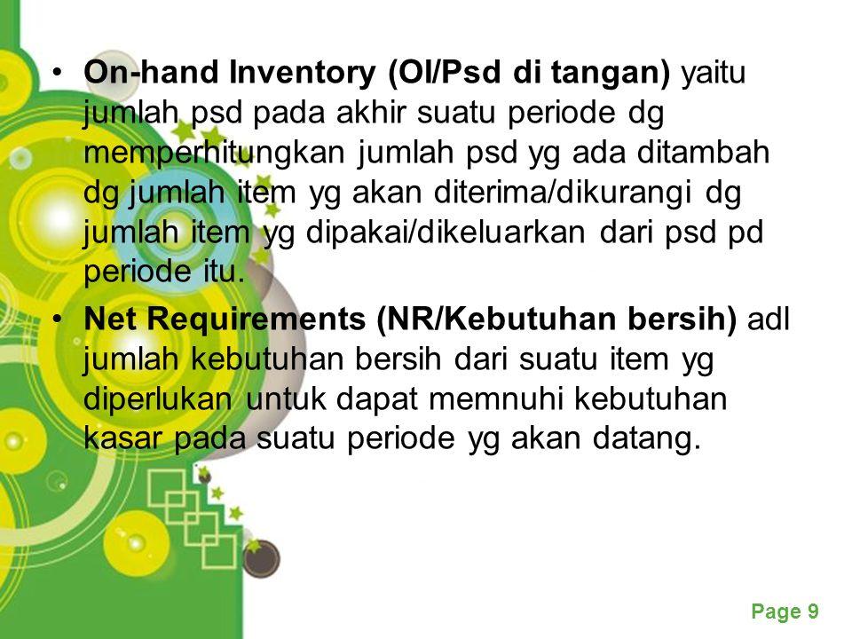 Page 9 On-hand Inventory (OI/Psd di tangan) yaitu jumlah psd pada akhir suatu periode dg memperhitungkan jumlah psd yg ada ditambah dg jumlah item yg akan diterima/dikurangi dg jumlah item yg dipakai/dikeluarkan dari psd pd periode itu.