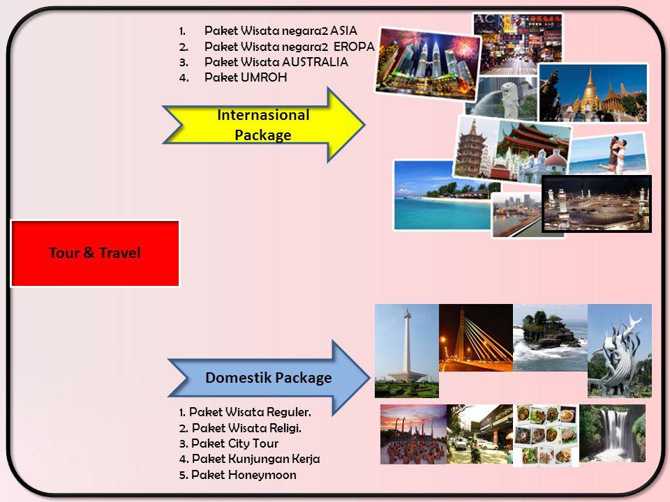 Internasional Package Tour & Travel Domestik Package 1. Paket Wisata Reguler. 2. Paket Wisata Religi. 3. Paket City Tour 4. Paket Kunjungan Kerja 5. P
