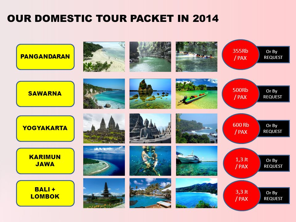 Or By REQUEST OUR DOMESTIC TOUR PACKET IN 2014 PANGANDARAN SAWARNA YOGYAKARTA KARIMUN JAWA BALI + LOMBOK 355Rb / PAX Or By REQUEST 500Rb / PAX Or By REQUEST 600 Rb / PAX Or By REQUEST 1,3 Jt / PAX Or By REQUEST 3,3 Jt / PAX