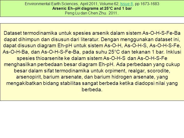 Dataset termodinamika untuk spesies arsenik dalam sistem As-O-H-S-Fe-Ba dapat dihimpun dan disusun dari literatur.