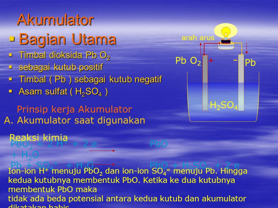 ELEMEN KERING Bagian Utama  Carbon ( C ) sebagai Kutub positif  Seng ( Zn ) sebagai kutub negatif  Amonium Clorida ( NH 4 Cl ) sebagai zat elektrol