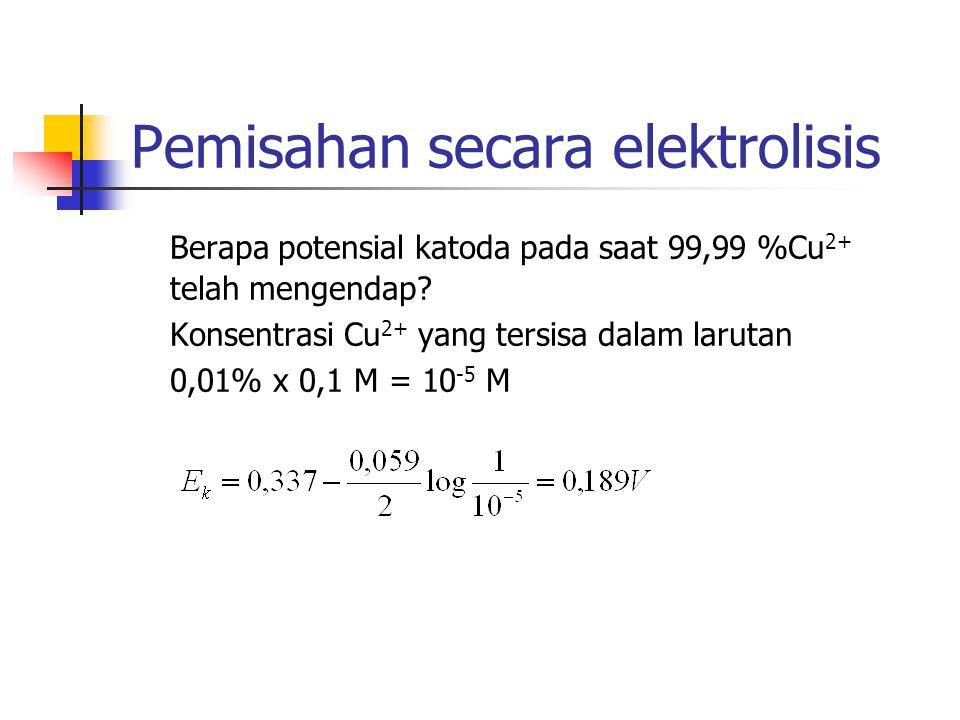 Pemisahan secara elektrolisis Berapa potensial katoda pada saat 99,99 %Cu 2+ telah mengendap? Konsentrasi Cu 2+ yang tersisa dalam larutan 0,01% x 0,1