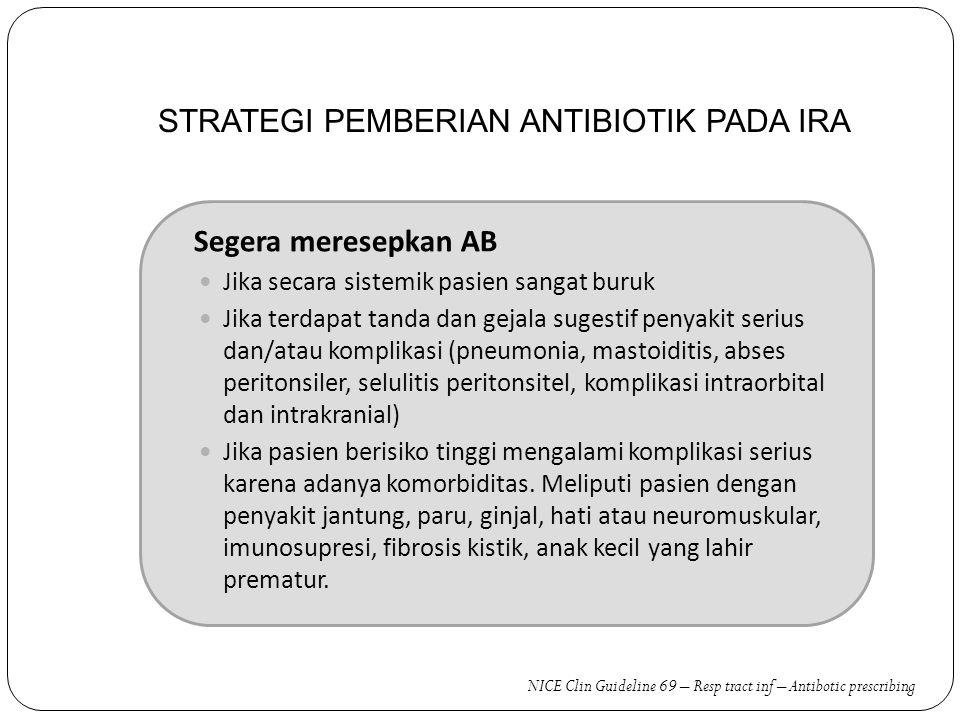 STRATEGI PEMBERIAN ANTIBIOTIK PADA IRA Segera meresepkan AB Jika secara sistemik pasien sangat buruk Jika terdapat tanda dan gejala sugestif penyakit