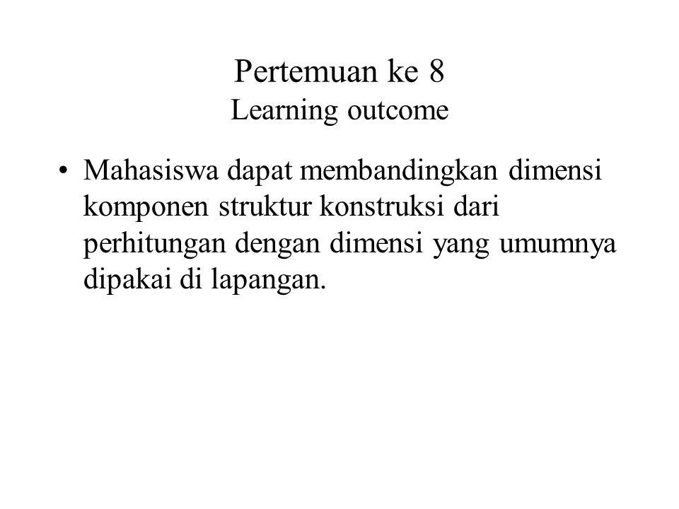 Pertemuan ke 8 Learning outcome Mahasiswa dapat membandingkan dimensi komponen struktur konstruksi dari perhitungan dengan dimensi yang umumnya dipaka