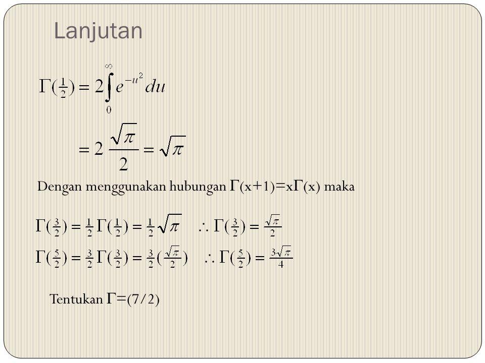 Lanjutan Dengan menggunakan hubungan  (x+1)=x  (x) maka Tentukan  =(7/2)