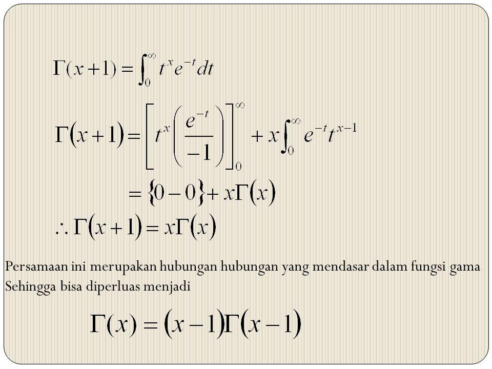 Persamaan ini merupakan hubungan hubungan yang mendasar dalam fungsi gama Sehingga bisa diperluas menjadi