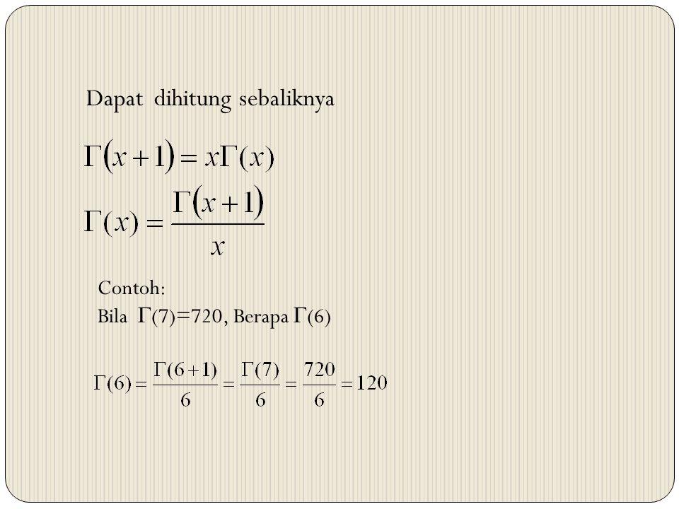 Dapat dihitung sebaliknya Contoh: Bila  (7)=720, Berapa  (6)