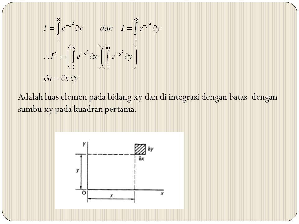 Adalah luas elemen pada bidang xy dan di integrasi dengan batas dengan sumbu xy pada kuadran pertama.