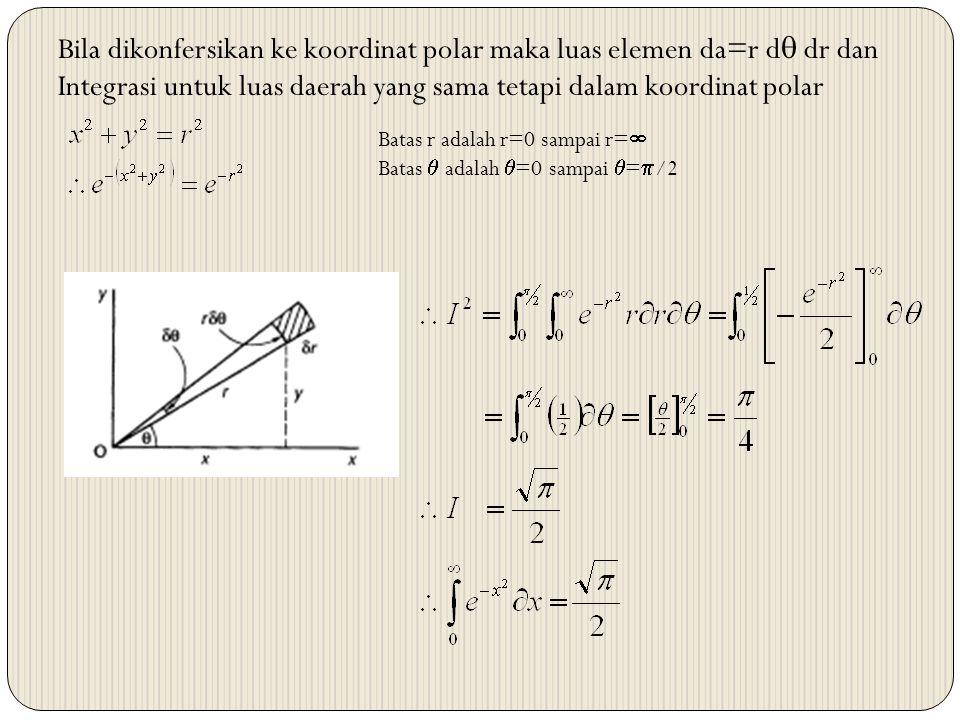 Bila dikonfersikan ke koordinat polar maka luas elemen da=r d  dr dan Integrasi untuk luas daerah yang sama tetapi dalam koordinat polar Batas r adal