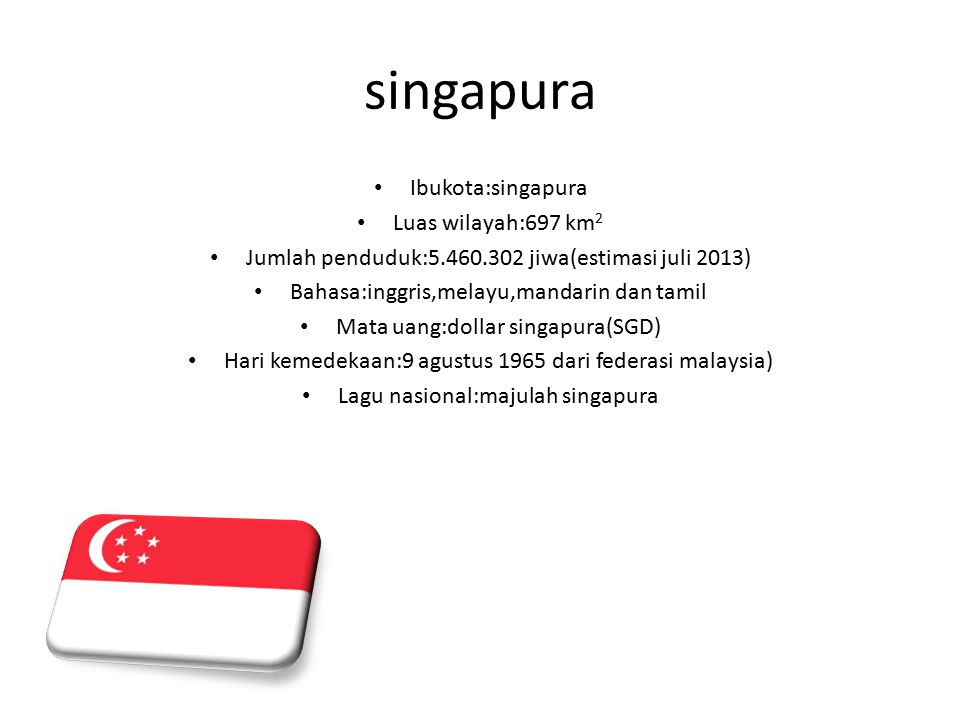 singapura Ibukota:singapura Luas wilayah:697 km 2 Jumlah penduduk:5.460.302 jiwa(estimasi juli 2013) Bahasa:inggris,melayu,mandarin dan tamil Mata uang:dollar singapura(SGD) Hari kemedekaan:9 agustus 1965 dari federasi malaysia) Lagu nasional:majulah singapura