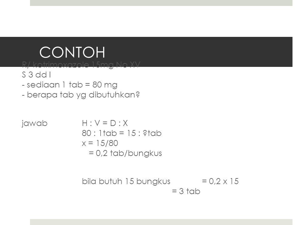 CONTOH R/ kotrimoxazole 15mg No XV S 3 dd I - sediaan 1 tab = 80 mg - berapa tab yg dibutuhkan.