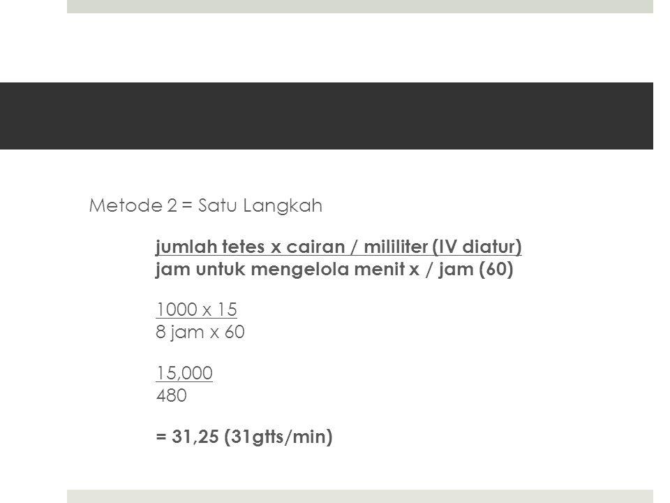 Metode 2 = Satu Langkah jumlah tetes x cairan / mililiter (IV diatur) jam untuk mengelola menit x / jam (60) 1000 x 15 8 jam x 60 15,000 480 = 31,25 (31gtts/min)