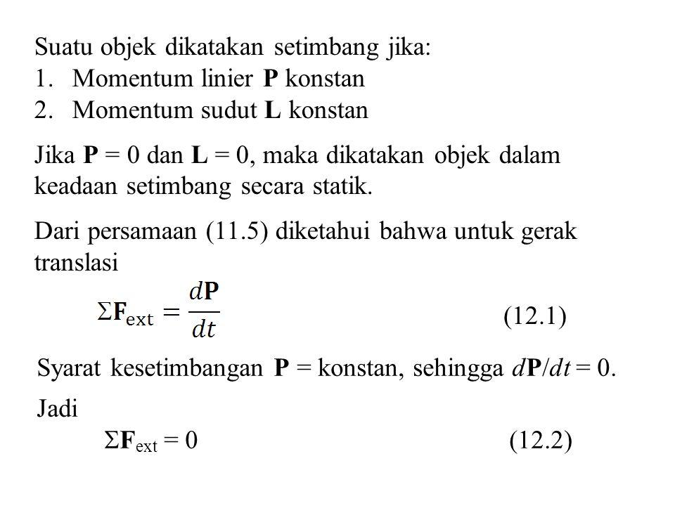 Suatu objek dikatakan setimbang jika: 1.Momentum linier P konstan 2.Momentum sudut L konstan Jika P = 0 dan L = 0, maka dikatakan objek dalam keadaan setimbang secara statik.