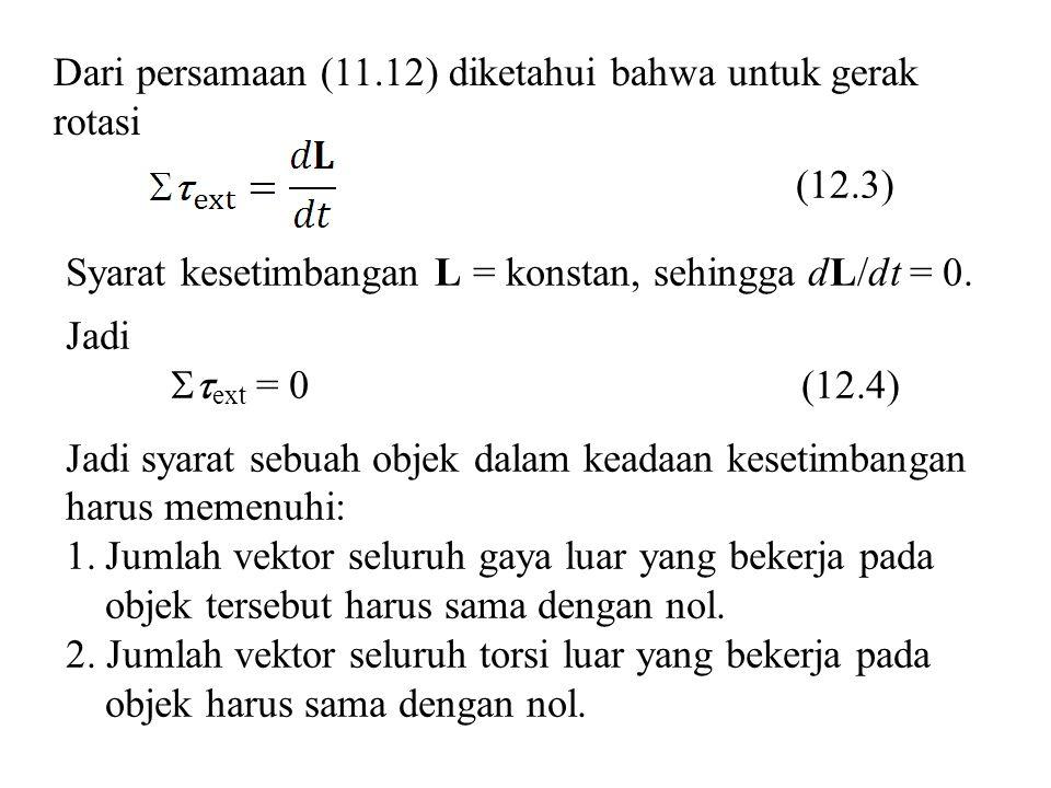 Dari persamaan (11.12) diketahui bahwa untuk gerak rotasi Syarat kesetimbangan L = konstan, sehingga dL/dt = 0. Jadi  ext = 0(12.4) Jadi syarat sebu