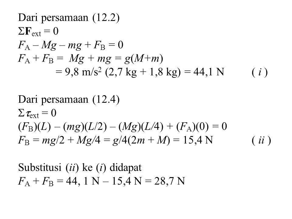 Dari persamaan (12.2)  F ext = 0 F A – Mg – mg + F B = 0 F A + F B = Mg + mg = g(M+m) = 9,8 m/s 2 (2,7 kg + 1,8 kg) = 44,1 N( i ) Dari persamaan (12.4)  ext = 0 (F B )(L) – (mg)(L/2) – (Mg)(L/4) + (F A )(0) = 0 F B = mg/2 + Mg/4 = g/4(2m + M) = 15,4 N( ii ) Substitusi (ii) ke (i) didapat F A + F B = 44, 1 N – 15,4 N = 28,7 N