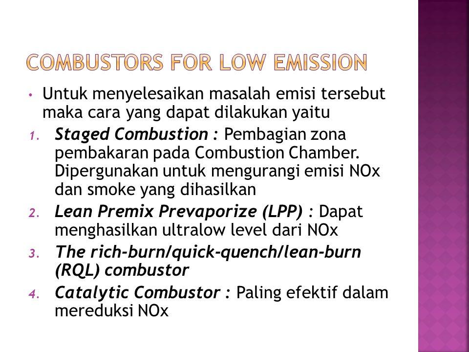 Untuk menyelesaikan masalah emisi tersebut maka cara yang dapat dilakukan yaitu 1. Staged Combustion : Pembagian zona pembakaran pada Combustion Chamb