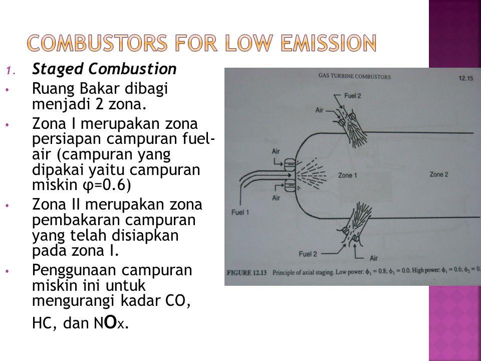 1. Staged Combustion Ruang Bakar dibagi menjadi 2 zona. Zona I merupakan zona persiapan campuran fuel- air (campuran yang dipakai yaitu campuran miski