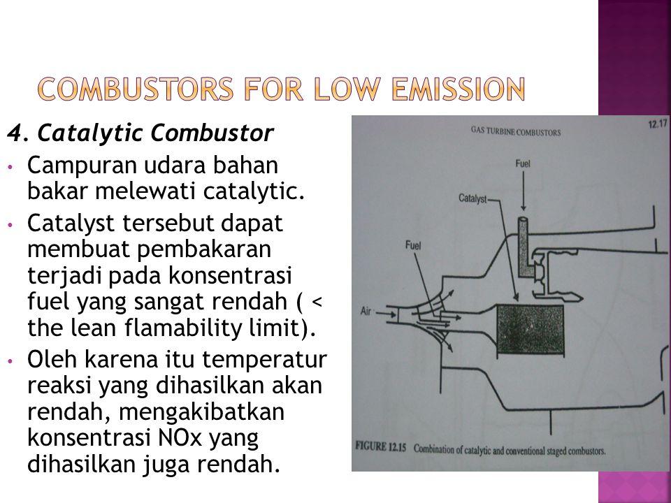 4. Catalytic Combustor Campuran udara bahan bakar melewati catalytic. Catalyst tersebut dapat membuat pembakaran terjadi pada konsentrasi fuel yang sa