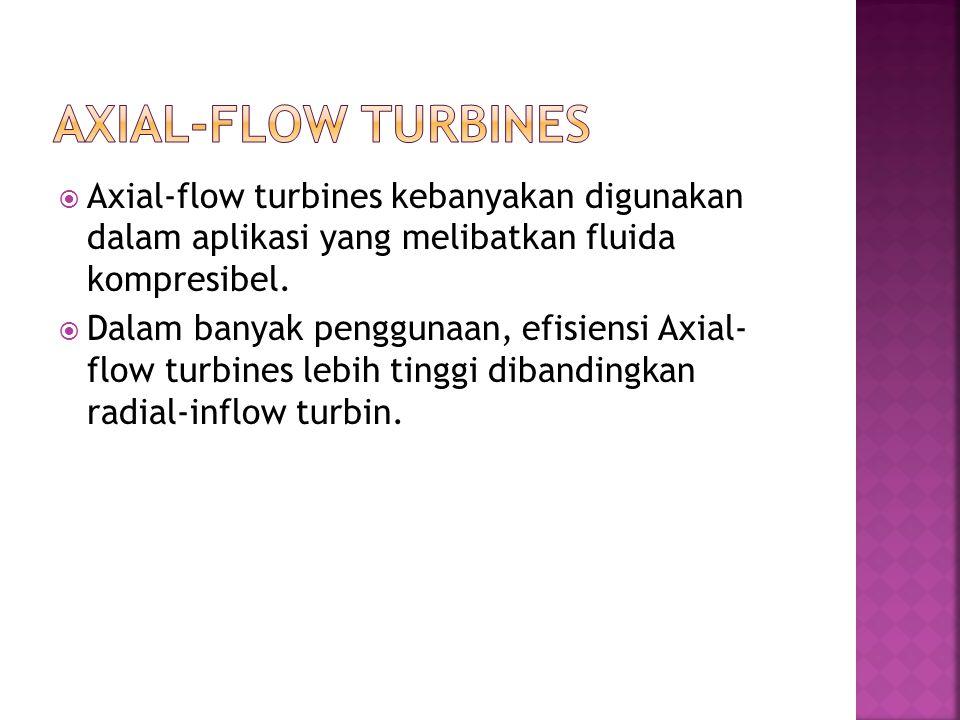  Axial-flow turbines kebanyakan digunakan dalam aplikasi yang melibatkan fluida kompresibel.  Dalam banyak penggunaan, efisiensi Axial- flow turbine