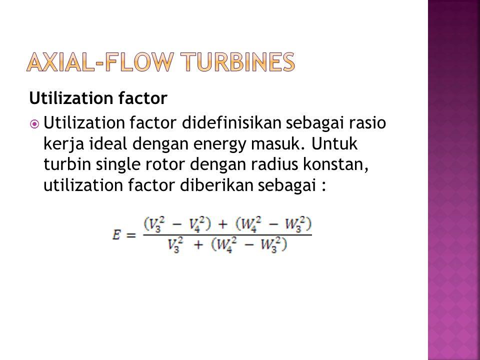 Utilization factor  Utilization factor didefinisikan sebagai rasio kerja ideal dengan energy masuk. Untuk turbin single rotor dengan radius konstan,